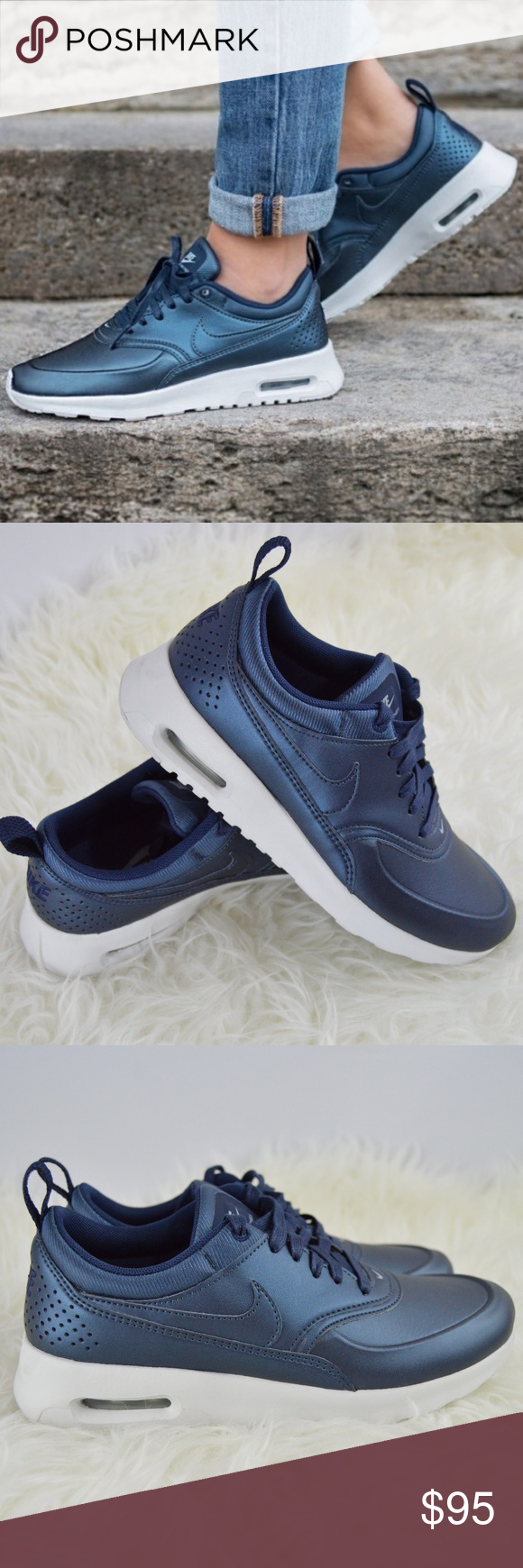... 44efc 8aa70 NEW Nike AIr Max Thea Blue Metallic 6 Lightweight and  durable 60c694308