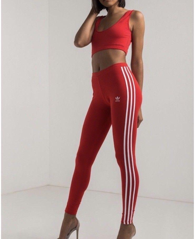 Adidas Originals 3 Stripes Leggings Xs Vivid Red White Cotton Legging Pants Ebay Red And White Adidas Adidas Three Stripes Striped Leggings