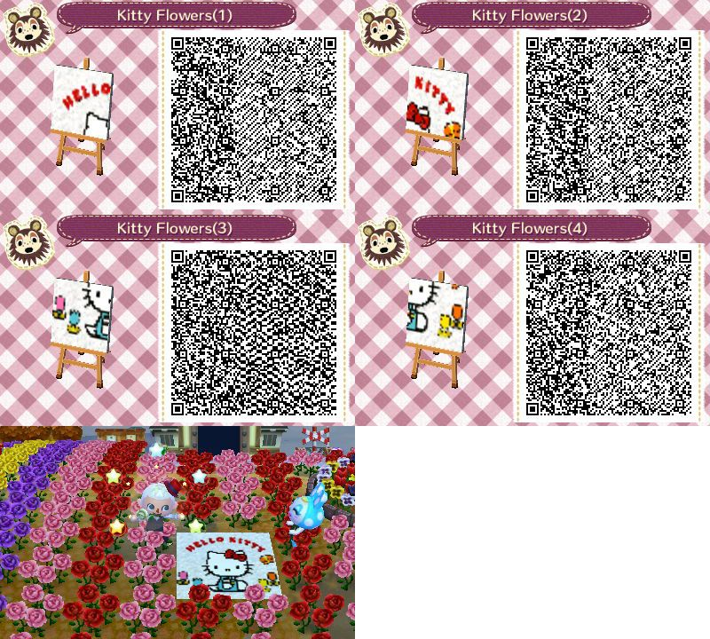 Hello kitty flowers mural animal crossing new leaf qr for Animal crossing mural