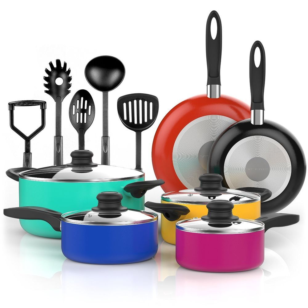 Modern Kitchen Utensils set cookware 15 pcs non stick modern color pans pots glass lids