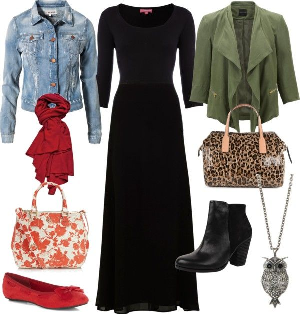 """Two ways to use a maxi black dress"" by natalia-rubio on Polyvore"