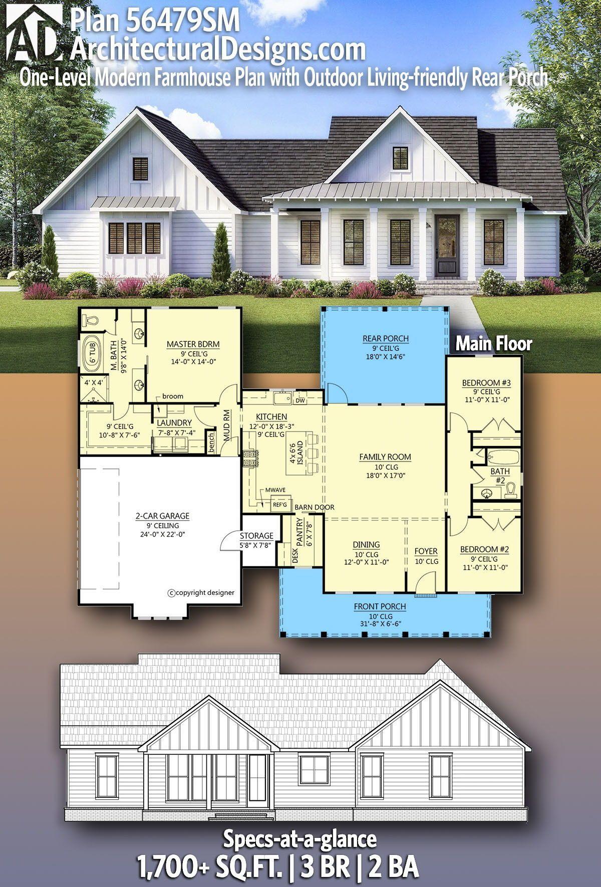 Plan 56479sm One Level Modern Farmhouse Plan With Outdoor Living Friendly Rear Porch Modern Farmhouse Plans Vacation House Plans New House Plans