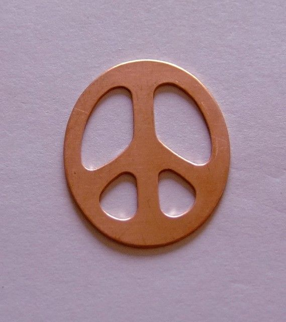 Copper Stamping Blanks Peace Sign 1 1/4 Inch 24ga Pkg Of 4 $5.49