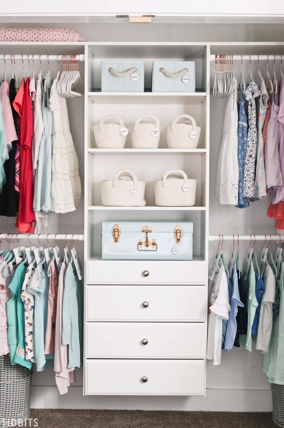 8 Kids Closet Organization tips to help this space look, feel and function better. My girls have such an easy time keeping the space clean and tidy after we put this closet organization system in place! #kidscloset #closetorganization #organization #camitidbits #organizing #closet #kids #camitidbits