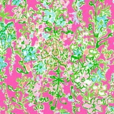 """18"""" x 18"""" or 1 YARD Lilly Pulitzer Flamingo Pink Southern Charm"""