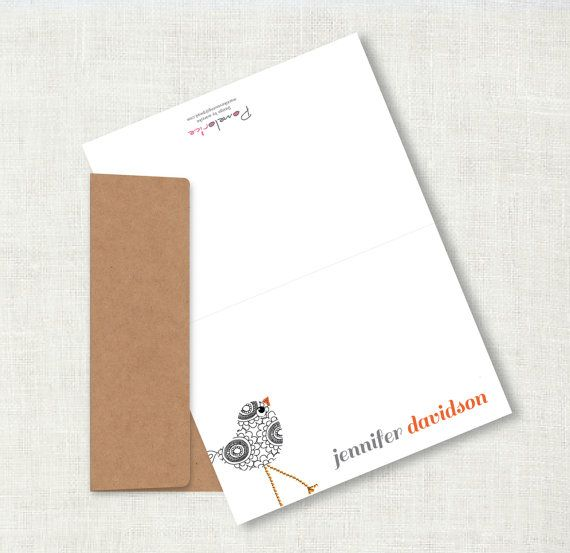 personal stationarypersonalized stationaryfolded notecardsstationary setbird stationarycustom - Custom Folded Note Cards