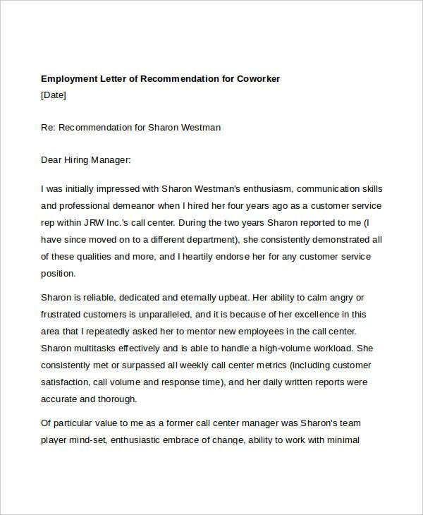 letter of recommendation for a nurse