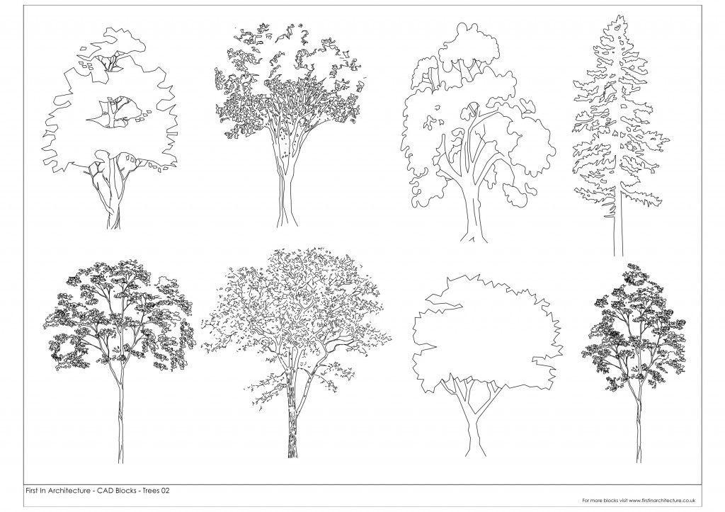 Landscape Garden Design Drawing Fia Trees Cad Blocks 02 Free