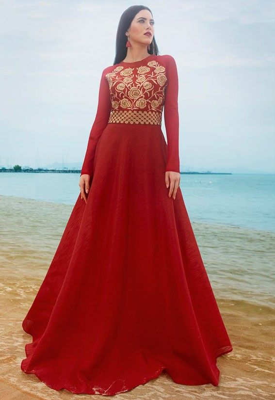 New Plush Persian Red Valentine\'s Special Gown | price of this ...