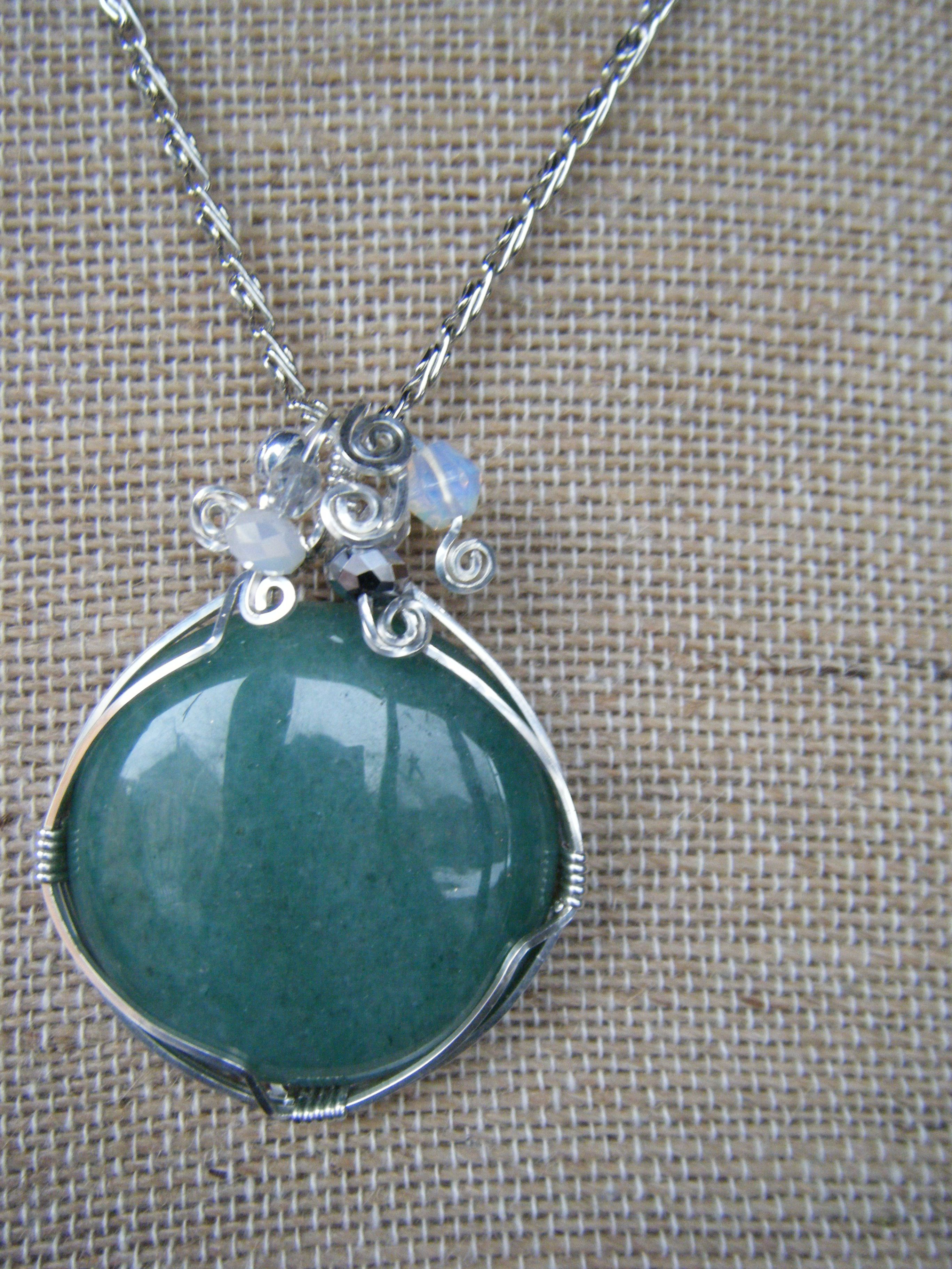Sterling silver wire wrapped stone pendant. My first attempt at wire ...
