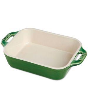 Staub Half Quart Ceramic Rectangular Baking Dish Green Baked
