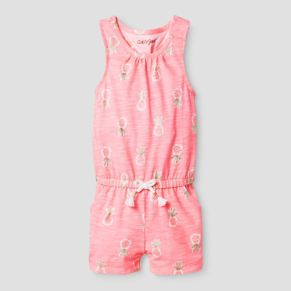 f771263c8d22 Toddler Girls  Romper Slub Jersey Cat   Jack - Moxie Peach 12M ...