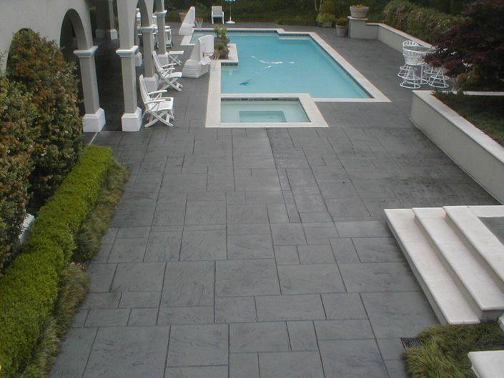Stamped Concrete Around Pool Backyard Pool Concrete Pool Modern Pools