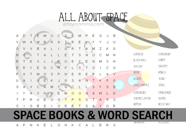 All About Space Word Search & Books For Upper Elementary