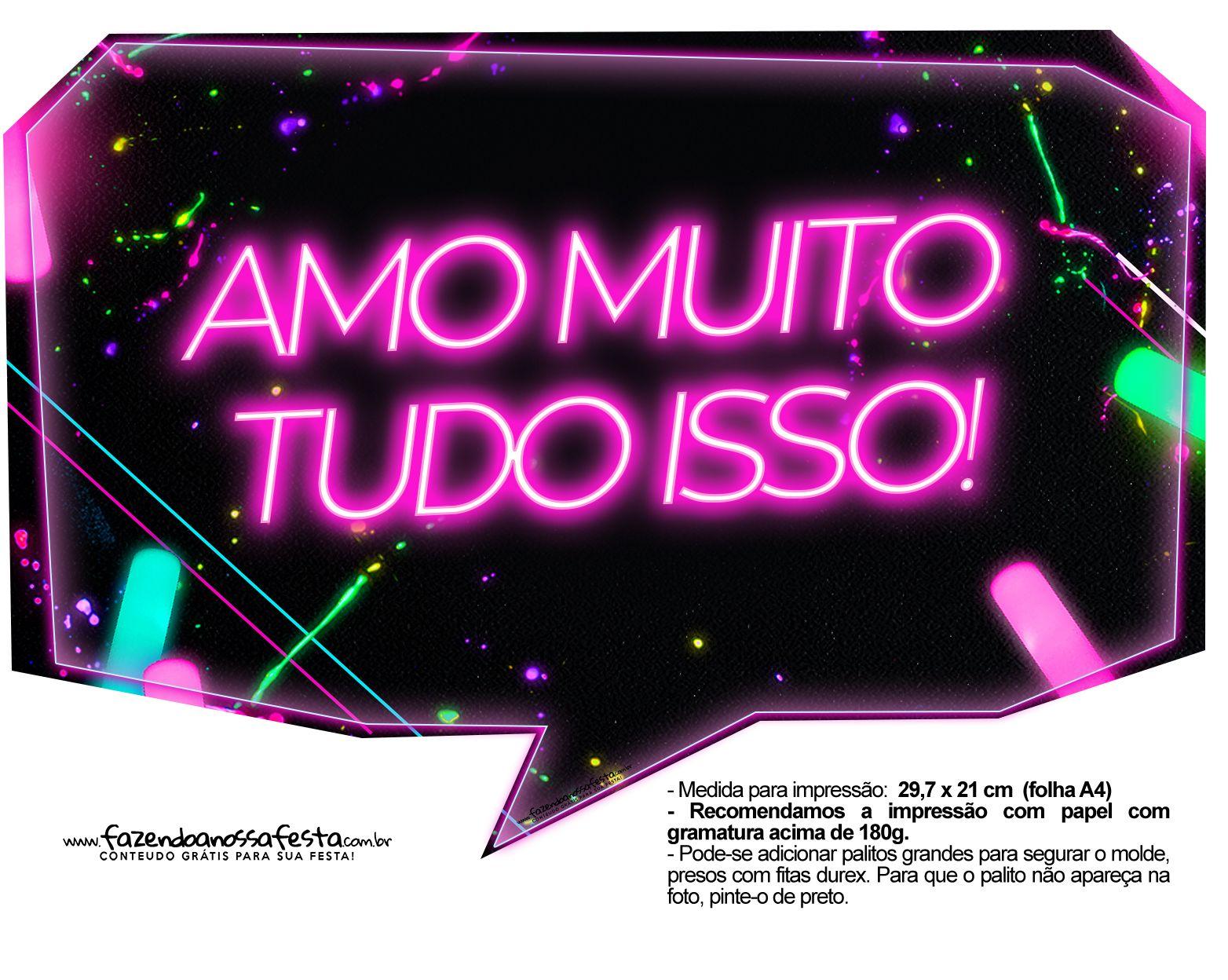Plaquinhas Neon Para Meninas 16 Festa Neon Festa De Aniversario