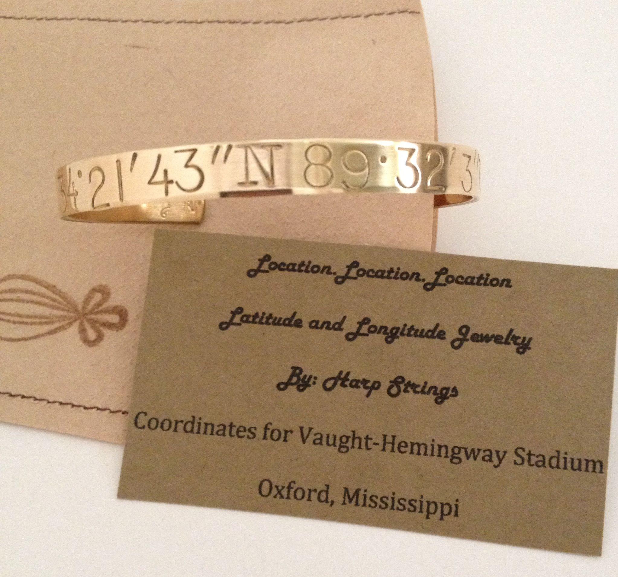 Louisiana Vaught Hemingway Stadium Oxford Mississippi Coordinates Bracelet