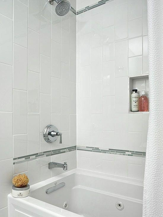 small mosaic tile surround white tub | Bathroom - Mosaic Tile Border ...
