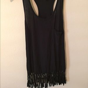 I just discovered this while shopping on Poshmark: Black fringe top. Check it out!  Size: M