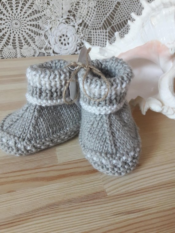 1b793a406f83 Knitted gift baby booties Warm booties newborn Gray booties Hand ...
