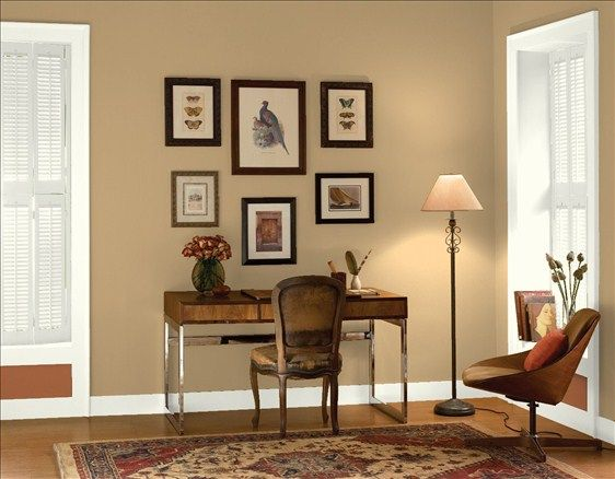 Clic Home Office Wall Color Tyler Taupe Trim Accent Cloud White Warmed Cognac