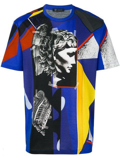 Versace Abstract Print Cotton Jersey T Shirt In Blue Modesens T Shirt Manner Manner Hemden Versace T Shirt