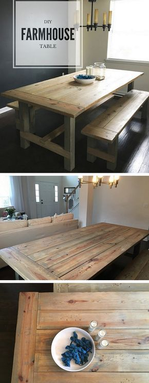 20+ Stunning DIY Farmhouse Tables for Rustic Decor - how to build a #DIY weathered oak #farmhouse dining table #dining room table diy 23 Easy DIY Farmhouse Table Ideas with Plans and Instructions