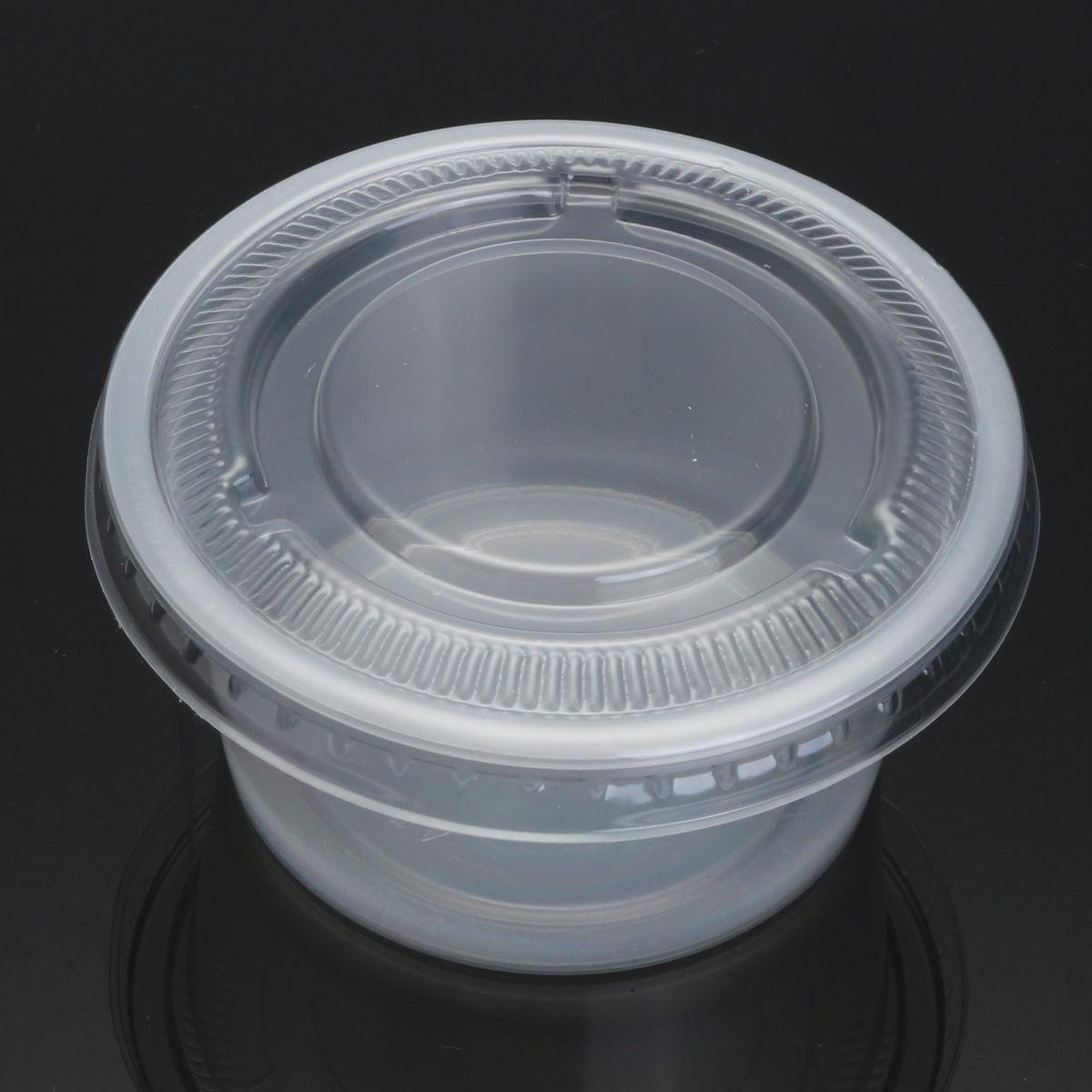 100Pcs 150mL Platos Desechables Plásticas Sopa Salsa Alimentos Copas Sacar  Contenedor con Tapa 7ba5ab1abb07