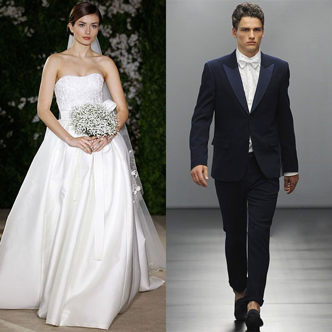Brides Groom Attire Ideas Inspired By The Bride S Gown Clic