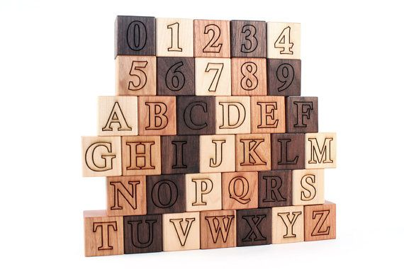 36-piece DELUXE ALPHABET NUMBER block set all by SmilingTreeToys