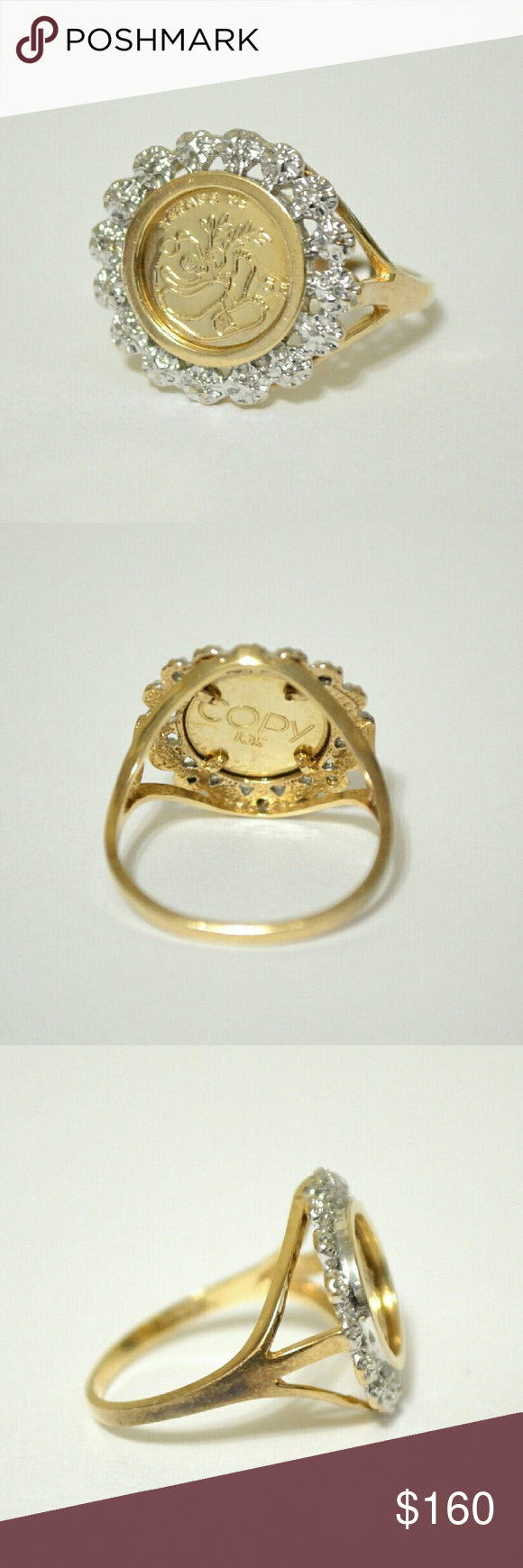 10k Yellow Gold Panda Coin Ring With Diamonds Copy Coin Ring Diamond Rings