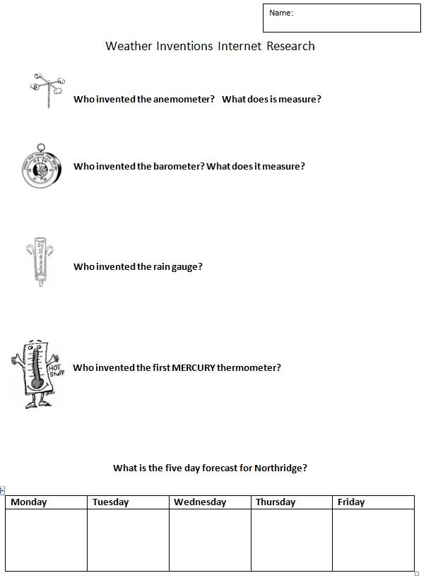 Weather Homework Ideas
