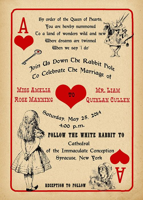 Printable Alice in Wonderland Wedding Invitation and Response Card