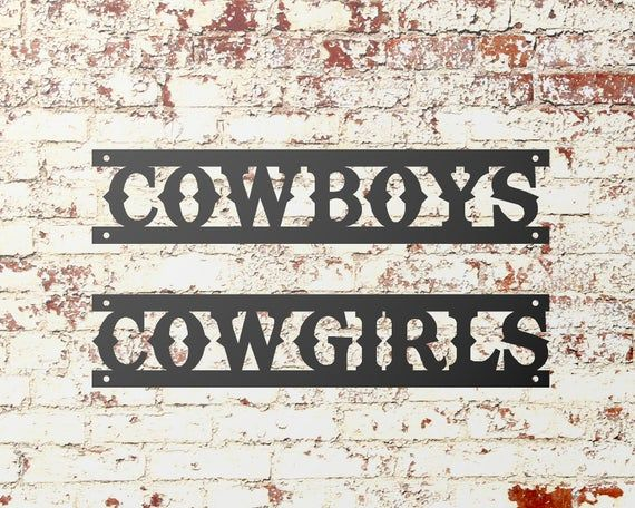 Cowboys Cowgirls Restroom Sign, Metal Word Sign, Restaurant Restroom Decor, Western Bathroom Decor #cowboysandcowgirls