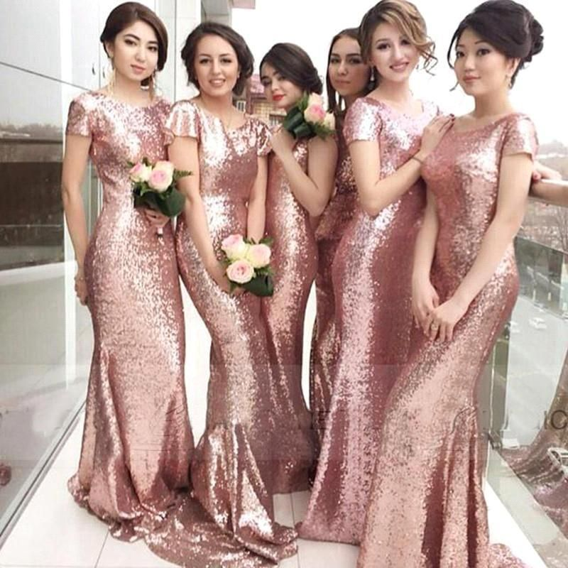 2016 new sexy short sleeve rose gold sequin bridesmaid for Long sleeve sequin wedding dress