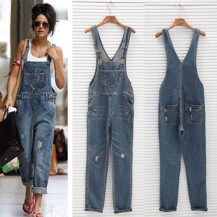 Multi-pocket Distressed Denim Jumpsuits Dungaree Overalls #casualjumpsuit