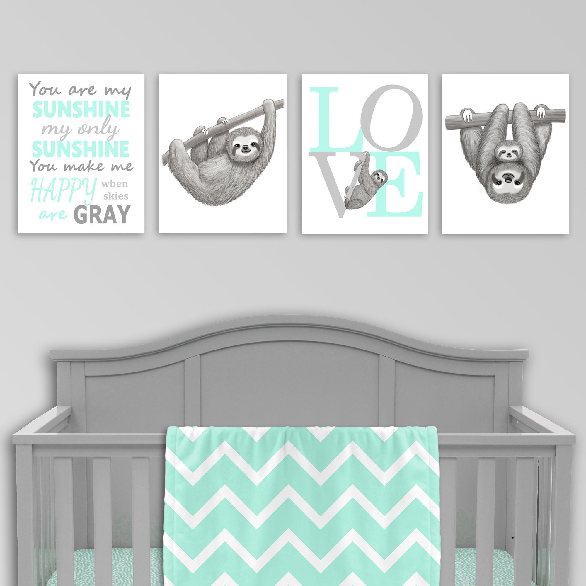 Sloth Nursery Wall Art Mint And Grey You Are My Sunshine Love Print Sloth Baby Decor Set Of 4 Prints Sloth Pictures Gender Neutral In 2021 Baby Decor Nursery Neutral Gender Neutral Nursery
