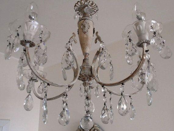 1950 Antique Stunning Italian Crystal Chandelier Brass Repurposed Shabby Chic Antique Look Smokey And Clear Crystals In 2020 Shabby Chic Chandelier Shabby Chic Lighting Vintage Chandelier