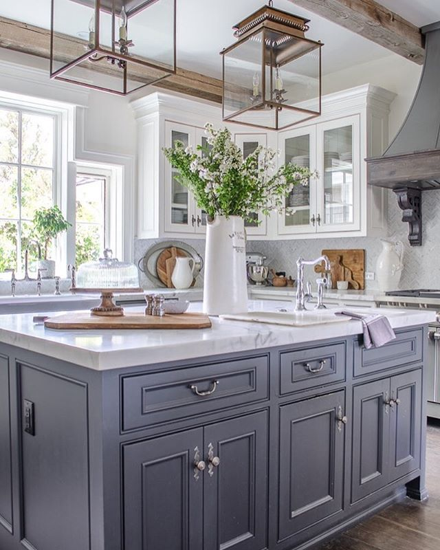 Country Kitchen- White Cabinets-Gray Center Island-White