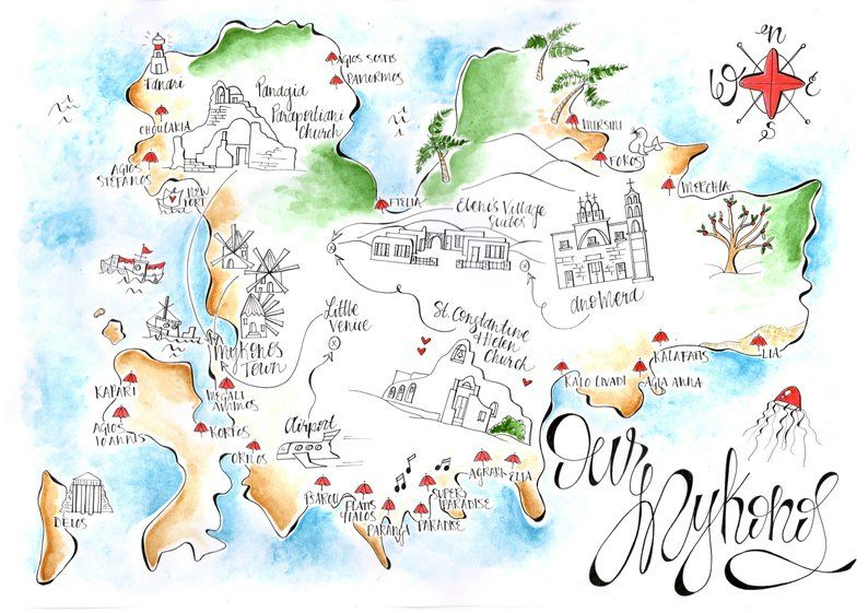 Mykonos Wedding Map Mykonos Save The Date In 2020 Mykonos Map