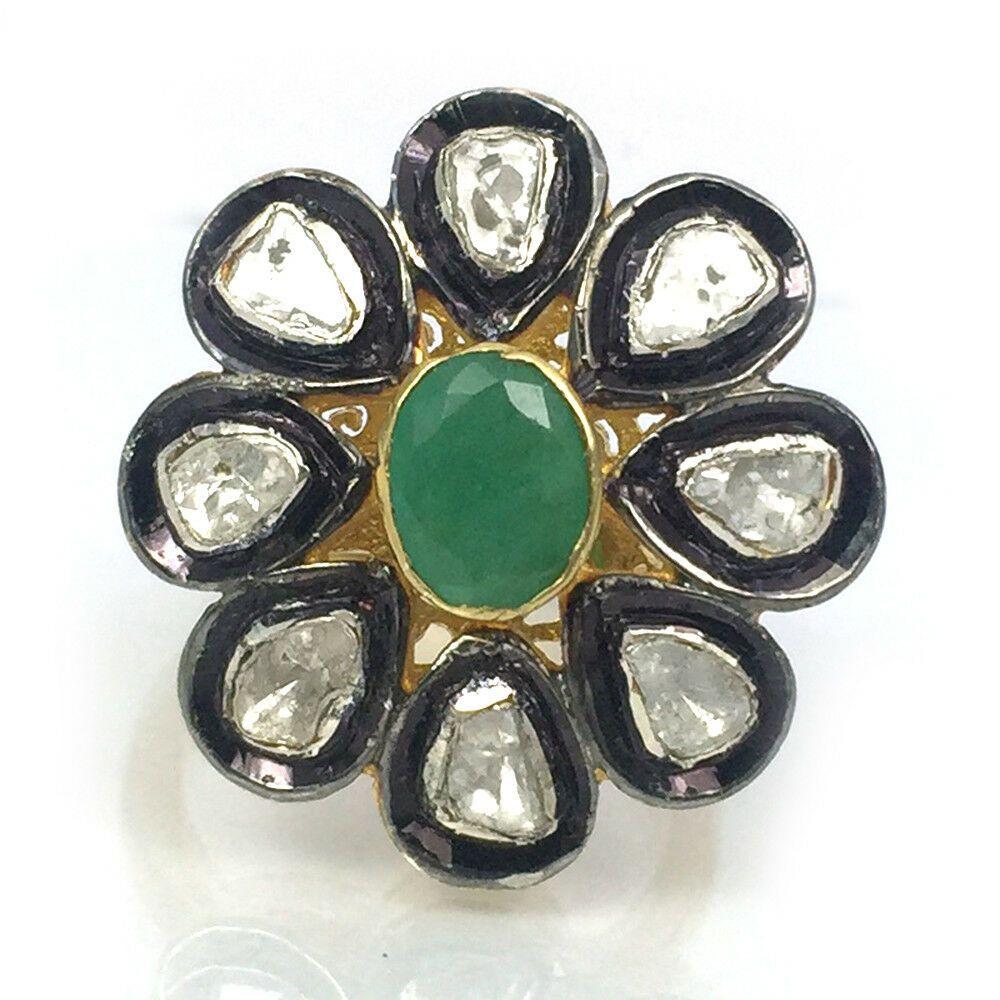 925 Sterling Silver Jewelry Natural Emerald Gemstone Handmade Polki Diamond Ring