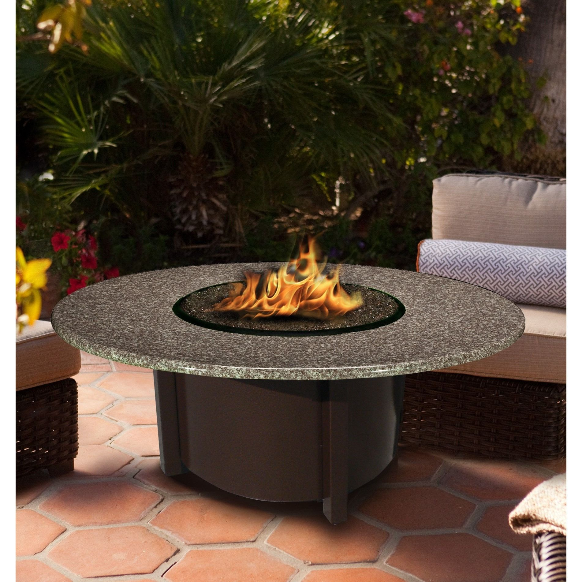 american fire glass carmel round fire pit w 42 pebble granite