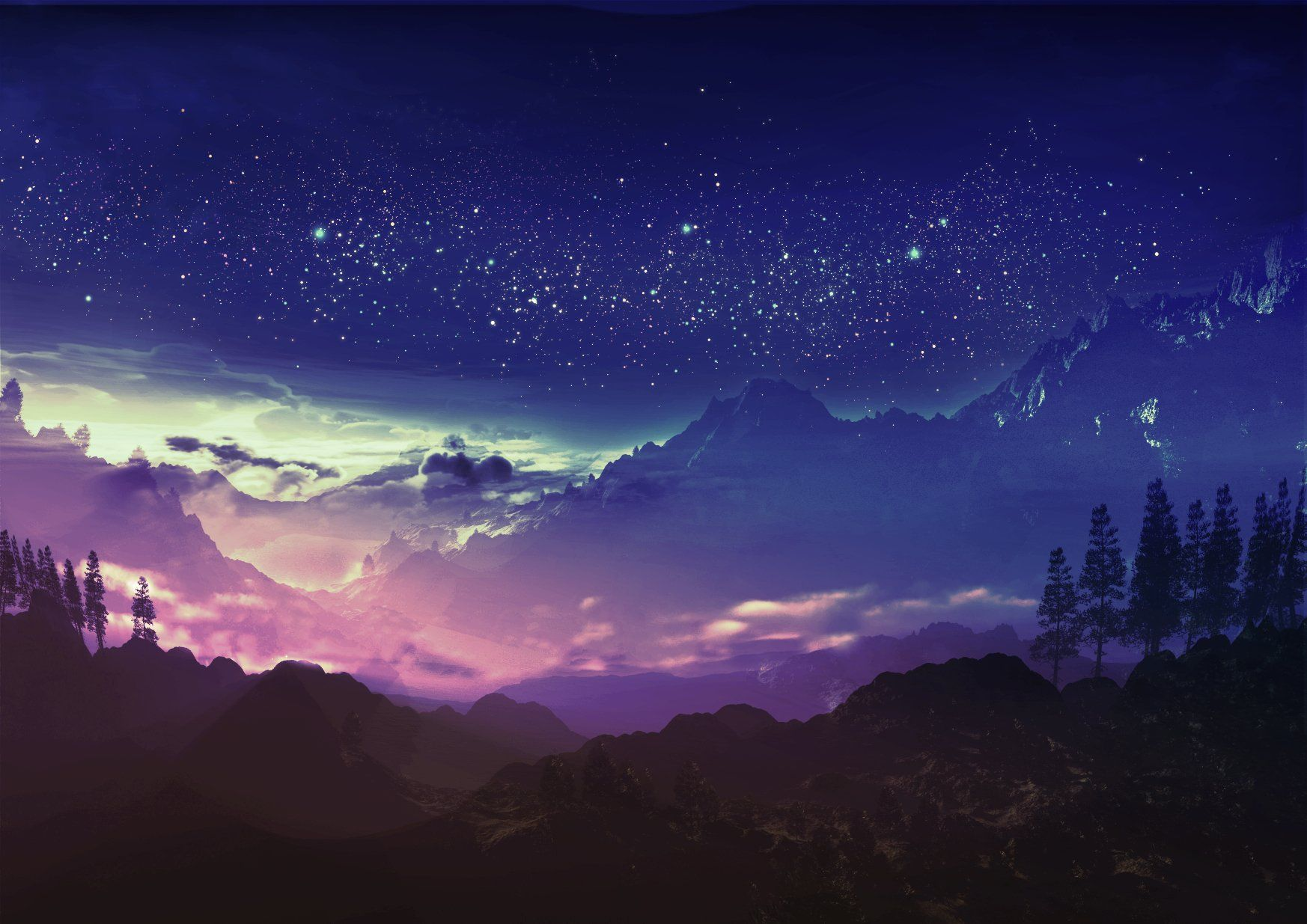 Anime Original Landscape Mountain Tree Cloud Star Sky