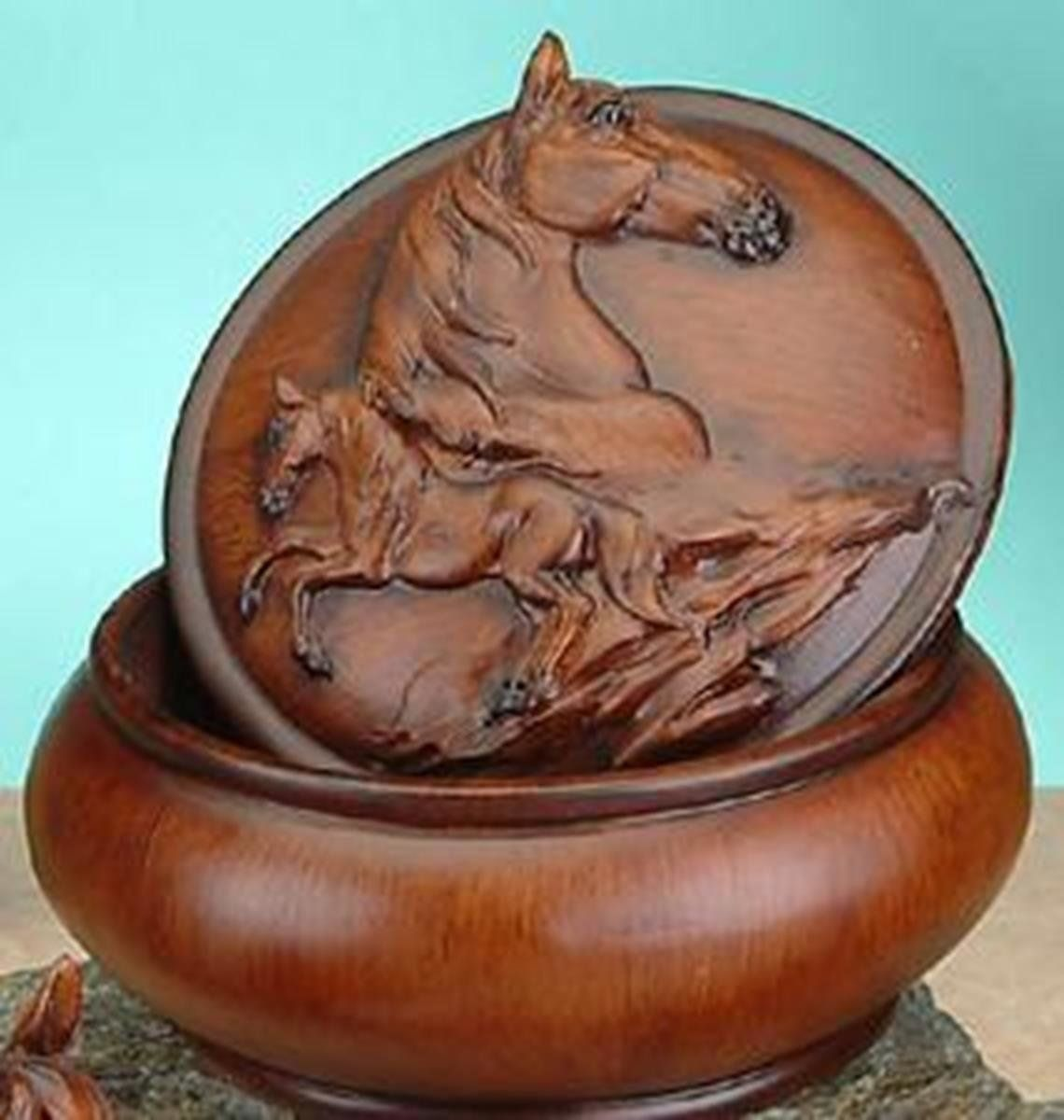 StealStreet Faux Wood Horse Jewelry Trinket Box Collectible