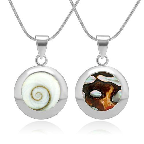 925 Sterling Silver White Shiva Eye and South African Turban Shell Reversible Necklace 18 inches * Want to know more, click on the image.