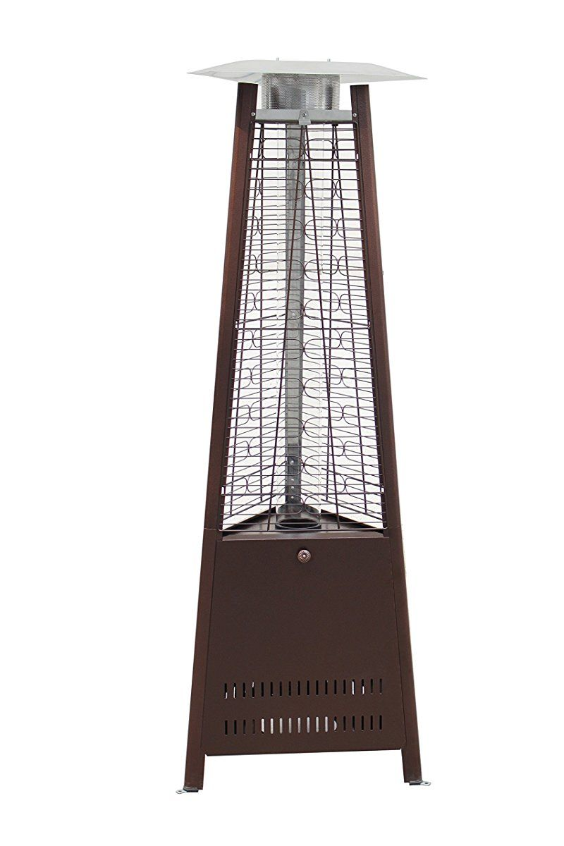 Outdoor Pyramid Propane Medium Glass Tube Dancing Flames Patio Heater    Hammered Bronze