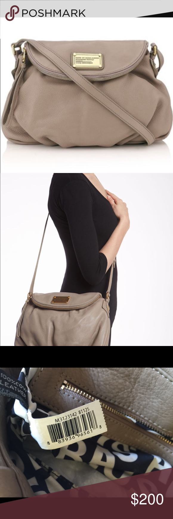 Natasha Classic Q This pebbled leather cross-body bag features a logo plate, zip pocket, and magnetic closure at the front flap. Pleating at bottom. Antiqued gold-tone hardware. Adjustable shoulder strap. Logo-lined interior features 1 zip pocket and 2 patch pockets.  Dimensions 8 x 12 x 16 Marc by Marc Jacobs Bags Crossbody Bags