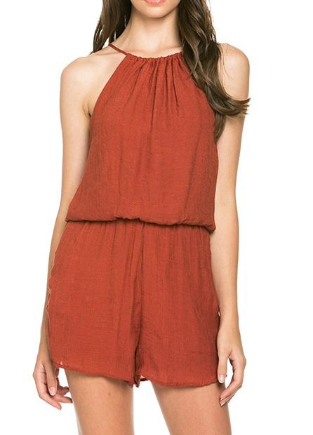bfaaf7c38585 Burnt Orange Romper Halter Neckline - Longhorn Fashions