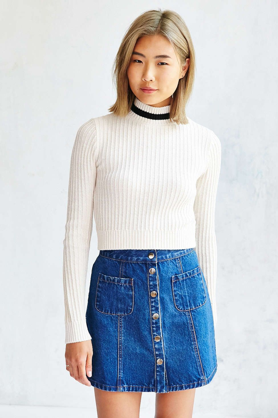 BDG Charlie Mock,Neck Fitted Sweater