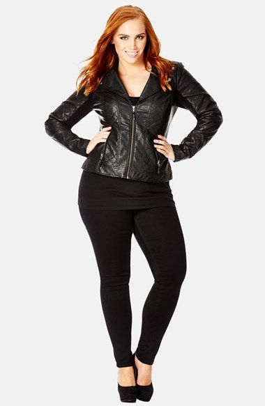 a14b708d68f95 City Chic  Moto Puffa  Faux Leather Jacket (Plus Size) available at   Nordstrom