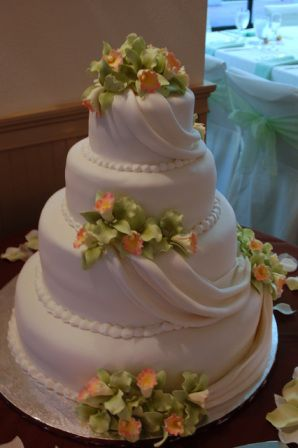 Draped Fondant Wedding Cake with Green Gumpaste Orchids